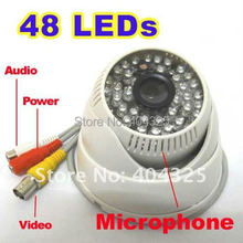 "1/3"" 420 TV Lines Sony CCD 48 IR Leds Day Night Vision Color Security Dome Audio CCTV Camera MIC(China)"