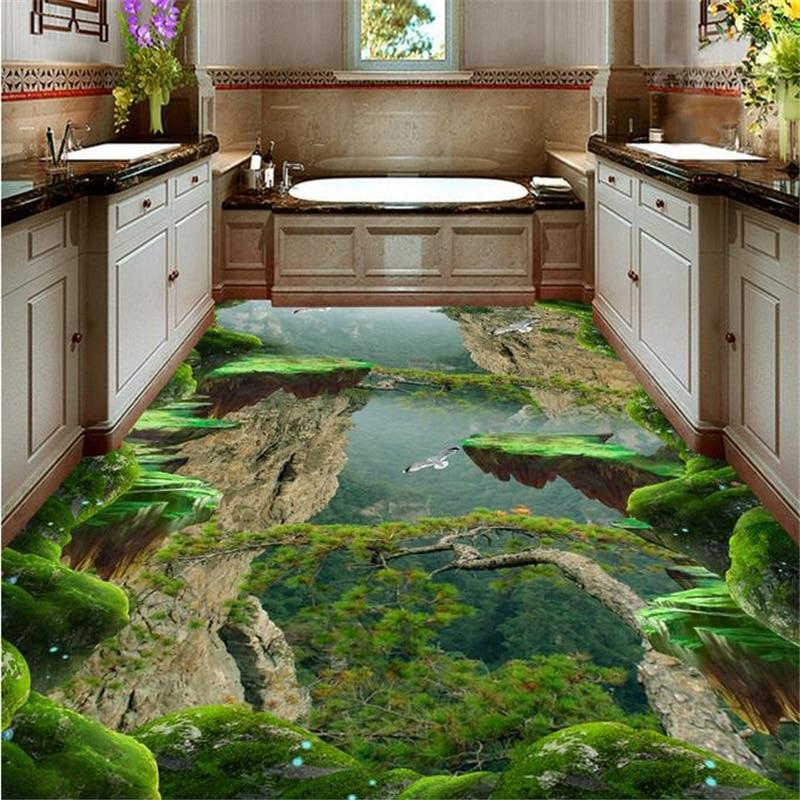Decorative floor painting Custom 3d stereoscopic vinyl flooring waterproof 3d floor wall paper Forest, Valley flooring bath<br><br>Aliexpress