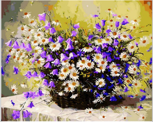 Acrylic Paint Purple white daisy flower baskets  Canvas For Artwork Frameless Diy Oil Painting By Numbers Wall Art Home Decor