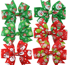 100pcs renda Xmas hair bobbles Ribbon Hair Bows WITH CLIP & Elastic Christmas Party Decoration Boutique Hair Bows HD3291