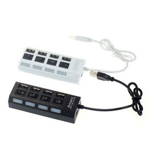 High Speed USB Hub New USB 2.0 Hub 4 Port With Power On/Off Switch LED Hub for PC Laptop Notebook PC Black White