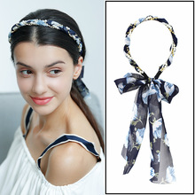 Adjustable Sweet Flower Pattern Headbands Pearl Twist Chiffon Bow Turban Dual Purpose Vertical Cross Hair Accessory 4Colors