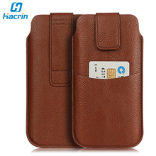 HomTom S9 Plus Case Wallet Leather Case PU Velcro 16.5 X 9.5CM Credit Card Slot Outdoor Waist Cover for HomTom S9 Plus MT6750T(China)