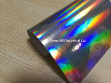 Free Ship Silver Holographic Chrome Vinyl Film Hologram Stickers With Air Release Vehicle Styling Laser Chrome 1.52*20M/Roll