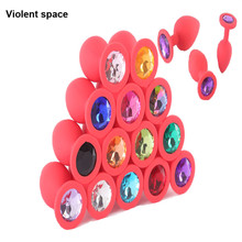 Buy Multiple colors Sex toys men & woman Anal beads silicone Butt plugs + Crystal jewelry Prostata massage Buttplug Adult toys