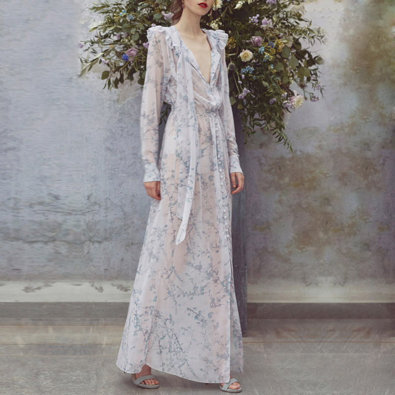 New  Dresses With Spring Printing Temperament at Knee Spring Small Fresh V Collar Showing Slender Button Flower Dresses