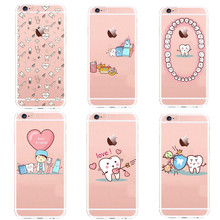 Unique Design Kawaii Tooth Love Phone Cases for iPhone 7 7Plus 6 6s 5 5s se  Plus dentist nurse Clear Silicone Cover Coque Capa
