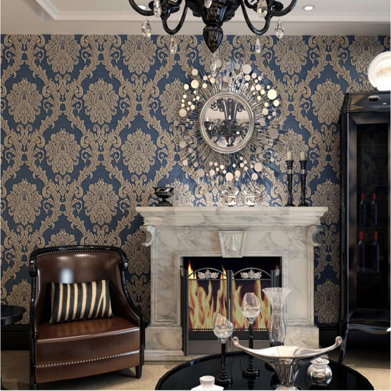 Beibehang European fashion modern damask blue white beige wallpapers modern luxury 3 d sitting room bedroom wallpaper<br>
