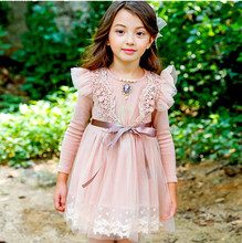 Autumn winter kids princess dresses for girls clothes baby girl birthday party lace flower tutu pageant thanksgiving dress