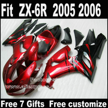 Best price Body kit for Kawasaki ZX6R fairing kits 2005 2006 red flames in black Parts 05 06 Ninja 636 fairings DT4+7gifts
