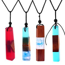 New Fashion Hand Wood Resin Necklace In Pendant Necklace For Men Women Applicable Jewelry Knitting Rope Chain Choker Wholesale(China)