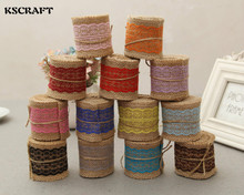 Buy KSCRAFT 2 Meter 6cm Jute Burlap rolls Hessian Ribbon colorized Lace rustic vintage wedding decoration diy ornament burlap for $1.81 in AliExpress store