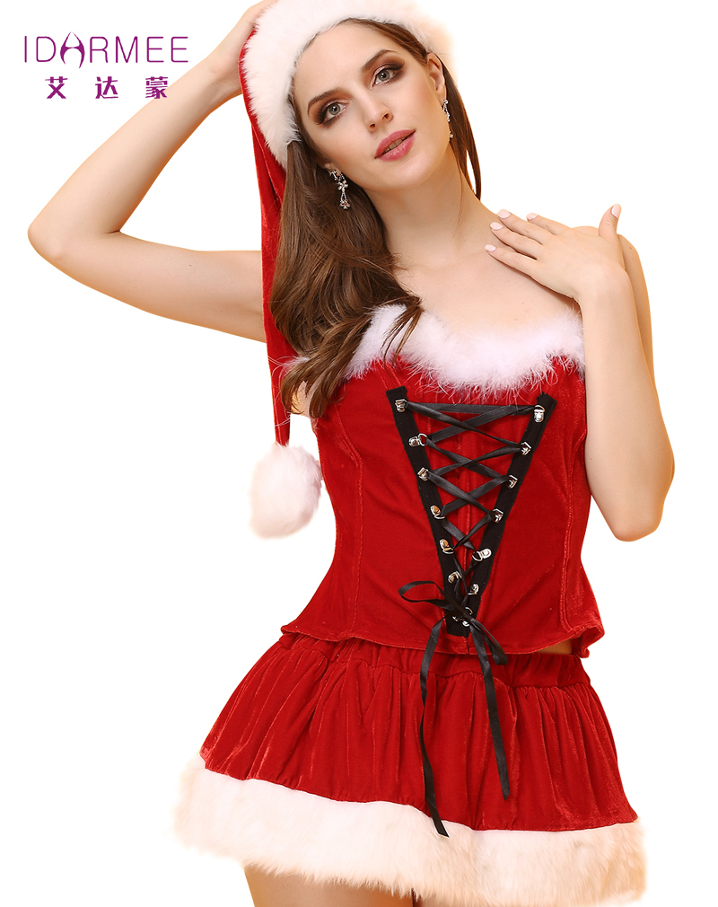 IDARMEE Sexy Adult Women Christmas Costume New Year Party Dress Sweetheart Miss Santa Cosplay Dress Hat 3pcs/Set S6420(China (Mainland))