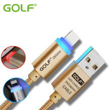 GOLF Auto Power Off Smart LED iOS10 Phone Charger Cable For iPhone 5 5S 6 6S 7 Plus iPad Air 2 Mini 2 Fast Charge USB Data Cable
