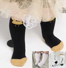 DHL EMS Free Shipping Lovely Baby Girls Mouse Cat Socks Knee High Children Leg Warmers Winter Black Gold New Socks Infant Wear