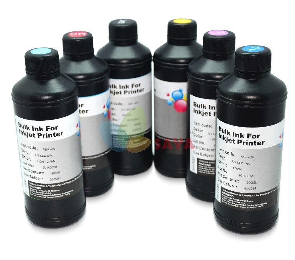 6x250ml B/C/M/Y/White/White colors UV LED Ink For epson UV Flatbed Printer dx3 dx5 dx7,print phone cases,toys,present,membrane<br><br>Aliexpress