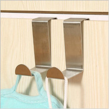 1pcs/lot Stainless Over Door Hooks Kitchen Cabinet Draw Towel Clothes Pothook can carry 10kg Free Shipping