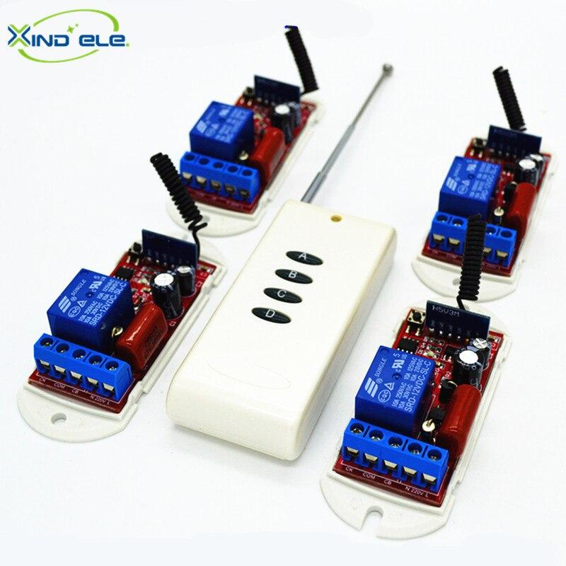 XIND ELE 4pcs Remote Control Light Switch AC110V-220V 4-key 315mhz Long Distance Transmitter #RF220-1L-315-4+LR4#<br>
