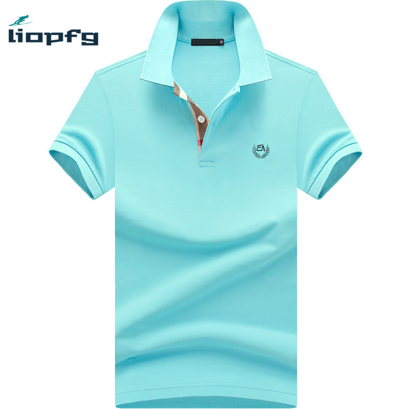 2017 Brand Summer Men Polo Shirt Short Sleeve Cotton Solid Gray Blue Polo Business Casual Men Performance Polo Shirts M-4XL WM05(China)