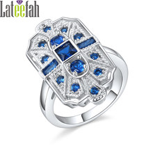 Lateefah Art Deco Vintage Wedding Rings for Women Cubic Zirconia Blue Red  White Green Big Stone Silver Female Ring Anel Bague b49572e174de