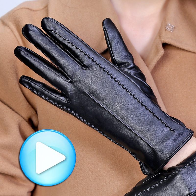 Touch leather gloves PU leather autumn and winter days , Ms. Korean fashion leather gloves<br>