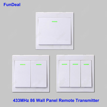 433Mhz 86 Wall Panel Remote Transmitter 2 3 Button Sticky RF TX Smart Home Hall Living Room Bedroom 433 Wireless Remote Controls(China)