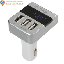 a7s Triple USB 3 Port Car Charger Adapter 3100mA Output Smart LED Digital Display Auto Cigarette Lighter Charger with Voltmeter