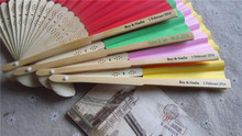 8.25inch=21cm 100pcs/lot Personalized Bamboo Paper Hand Fans Wedding Gifts Out Party Event Favors Print Message on Handle