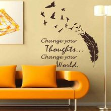 BATTOO Inspirational Buddha Large Wall Decals - Change Your Thoughts Change Your World - Feather Birds Vinyl Wall Stickers(China)