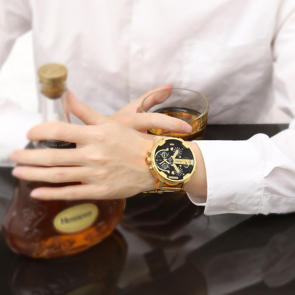 Cagarny Watches Men Fashion Quartz Wristwatches Cool Big Case Golden Steel Watchband Military Relogio Masculino Diesel Style dz6820 (1)