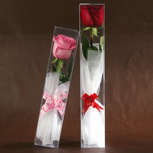 Wholesale 20PCS/Lot Transparent Plastic PVC Boxes for Display and packing Rose Flowers Free Shipping