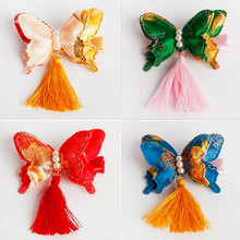 Great quality Chinese embroidery Butterfly Tassels Hair Clip Kids Hairpins Children delicate Satin Festival Hair Accessories J31