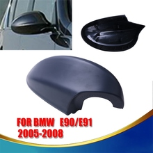 Right Side Matte Black Car Door Mirror Covers Car Door Rear View Mirrors Cap For BMW 3-Series E90 E91 4D Sedan 2005-2008 #9268