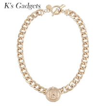 K's Gadgets Gold Color Chunky Necklaces Unique Coin Design Fashion Polished Cuban Link Chain Statement Necklace For Women