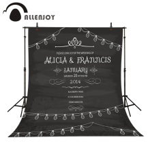 Allenjoy background Vintage Party Invitation Love Wedding invitation Design Retro Blackboard Layout Celebration Wreath Chalk(China)