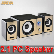 SADA S-20D laptop computer audio wooden speakers, AUX input multimedia mini portable small 2.1 subwoofer, USB powered