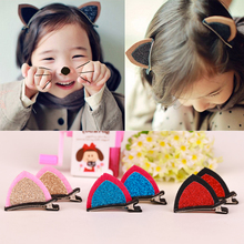 New 1Lot=2Pcs Stereo Double Cat Ear Clip With Sequins Ears Baby Hair Clip Cute Of Fan Lovely Shape Hairpins Children Accessories