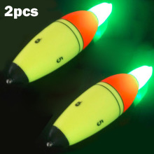 2pcs/Lot ABS Buoy Sea Fishing Float Electronic Glowing Led Night Luminous Floats Fishing Bobber Light Stick With Full Battery(China)