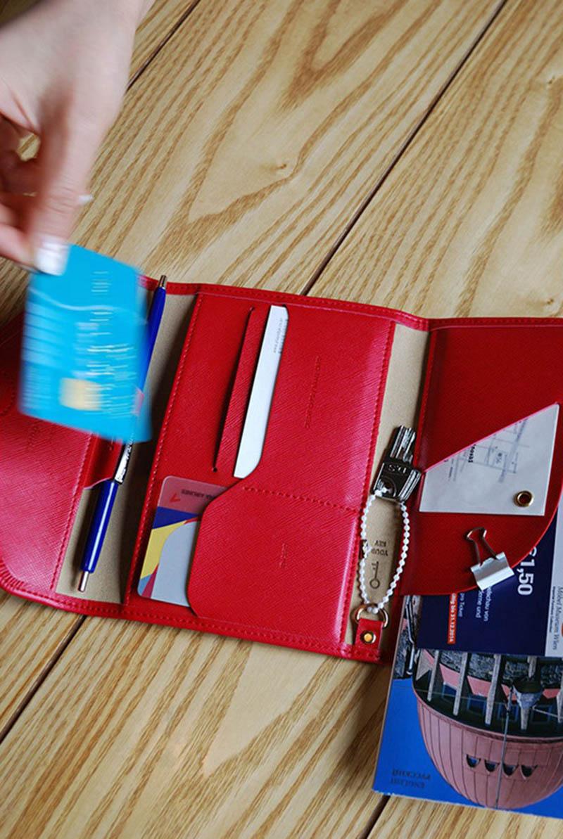 Reispaspoort Cover Opvouwbare Creditcardhouder Geld Portemonnee ID Multifunctionele Documenten Vlucht Bit Licentie Portemonnee Tas PC0045 (7)