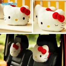 2PCS Free Shipping Cute KT Car Neck Pillow Hello Kitty Car Accessories Cotton Car Neck Pillow Headrest Kid White Pink Red Bow