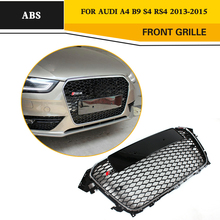 ABS RS4 Styling Black frame Front Grill Auto Car Mesh Grille For Audi A4 S4 RS4 2013-2015