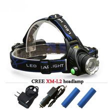 Powerful CREE XML T6 headlights XM-L L2 headlamp Zoom waterproof 18650 rechargeable battery camping led head lamp flash light