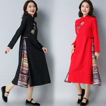 National Chinese Dress Women Qipao Dresses Casual 2017 New Cotton Chinese Style Jacquard Weave Embroidered Long Vintage Dress(China)