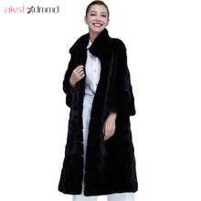 X-Long Black Thick Fur Coat Women's Fur Jacket Winter Overcoat Rabbit Faux Fur Outerwear New 2016 Fashion Style 6XL LH558(China)