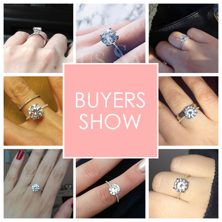 19 Classic Luxury Real Solid 925 Sterling Silver Ring 3Ct 10 Hearts Arrows Zircon Wedding Jewelry Rings Engagement For Women 1