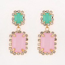 Square acrylic pink is green pink vintage earrings #E031(China)