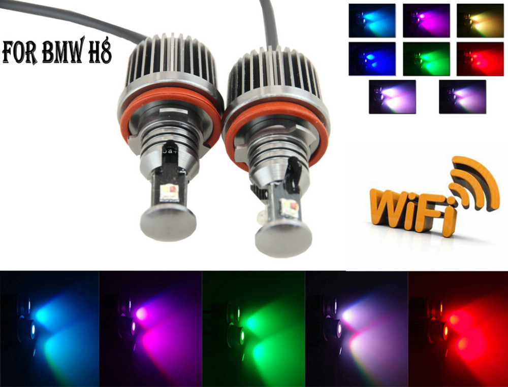 Wifi Control H8 LED Marker Angel Eyes 40w RGB Color Led Marker Headlight Parking light Sexy lights for BMW<br><br>Aliexpress