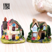 Resin Crafts Mini Ivy House Villa Model Ornaments Fairy Garden Miniatures Home desktop/ Succulents/ Micro Landscape Decoration