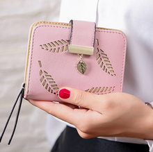 2017 design women's purse zipper Leather ladies wallet women luxury brand Small female wallet Hollow Leaves for credit cards