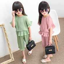 New Pattern Girl Summer Nail Pearl Suit Children Korean Short Sleeve Seven Part Chiffon Pants Twinset Hot 2 Pieces Kids Clothing(China)